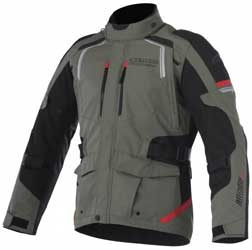 ALL-WEATHER RIDING / ADVENTURE TOURINGAdvanced reinforced poly-fabrictextile and DRYSTAR waterproofand breathable construction. Newly developed Direct VentilationSystem (DVS) zippered chest airintakes and back exhaust ports. Internal impact pr