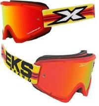 OFF ROAD GOGGLES:-Brand: EKS-Strap: Red & Yellow with adjustable strap-Lens: Red Mirror/Yellow Lens