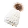 Cable Knit Fur Pom Hat