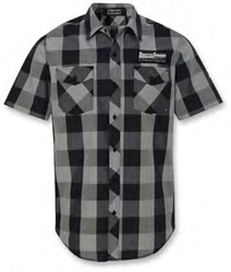 THROTTLE THREADS MENS PLAID SHORT SLEEVE SHOP SHIRTS