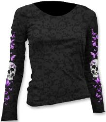 LETHAL THREAT WOMENS BUTTERFLY SKULL BURNOUT SCOOP NECK SHIRT