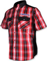 THROTTLE THREADS MENS PARTS UNLIMITED PLAID SHORT SLEEVE SHOP SHIRT